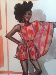 Laura Volpintesta illustration  dress by Kachi Designs  #online fashion illustration and design INTENSIVE immersion course experience! Check it out!! I'm here for you. $750 tuition for a limited time includes your art supplies for fashion designers kit shipped to you. 15 week online semester created by Parsons fashion faculty of 17 years.
