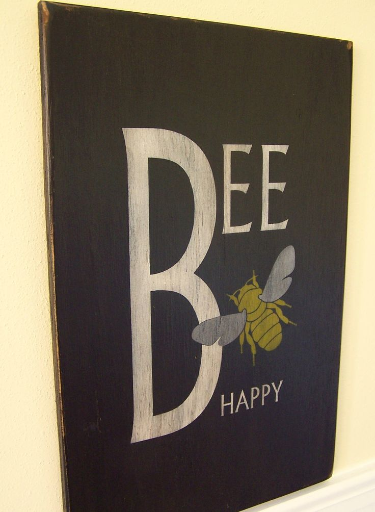 "Bee Happy - 12"" x 18"" Handpainted Wood Sign - Plywood Painted Kitchen Sign - Wooden Sign Laundry Room - Bee Yourself. $36.00, via Etsy."
