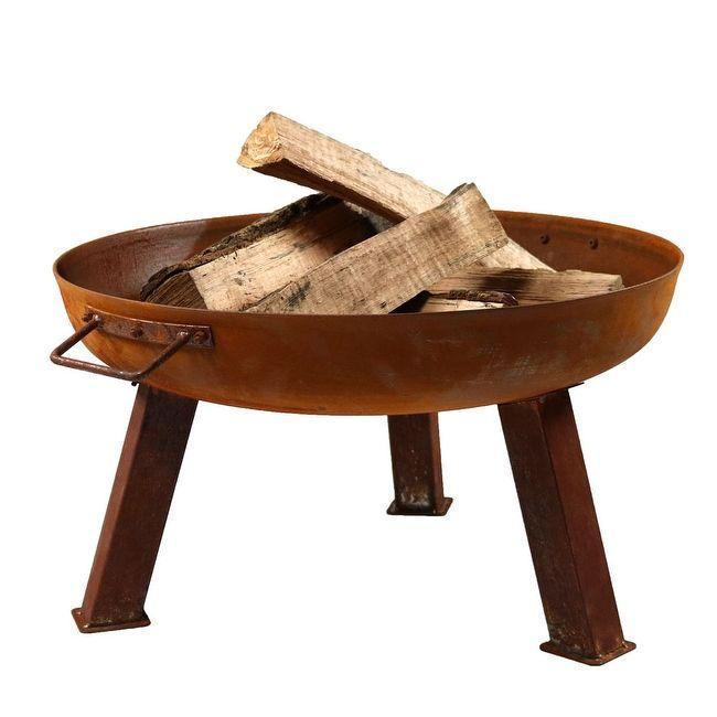 sunnydaze rustic cast iron fire pit bowl orange by sunnydaze decor