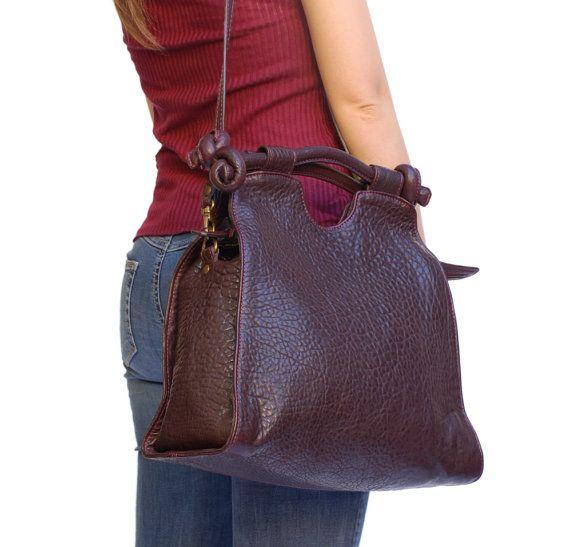 Top handle hobo. Italian leather handbags. Burgundy Cross body