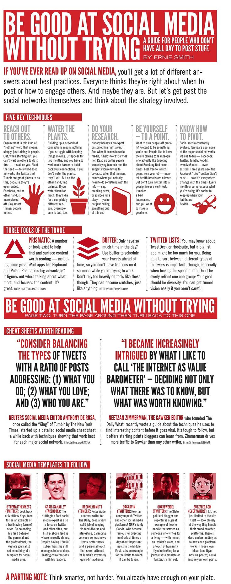 A busy person's guide to social media. Remember though that social media does take time, so don't only really on this infographic (you need time to create or find content and you need to spend time on each platform) http://www.intelisystems.com