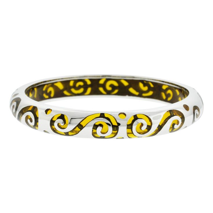 Retro - Polished Stainless Steel Bangle with Scroll patterns and yellow Resin inlay http://lily316.com.au/shop/banglescuffs/polished-stainless-steel-bangle-with-yellow-resin-inlay/