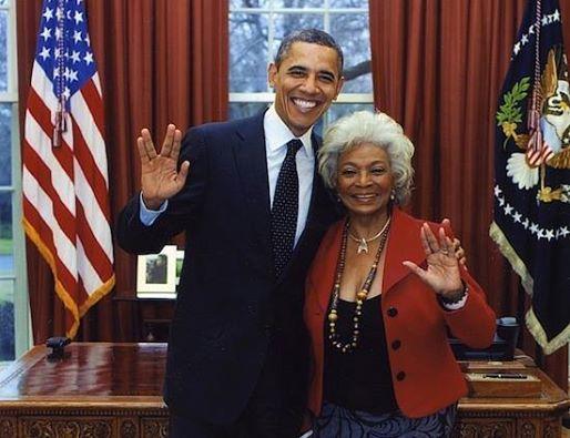 Obama and Nichelle Nichols