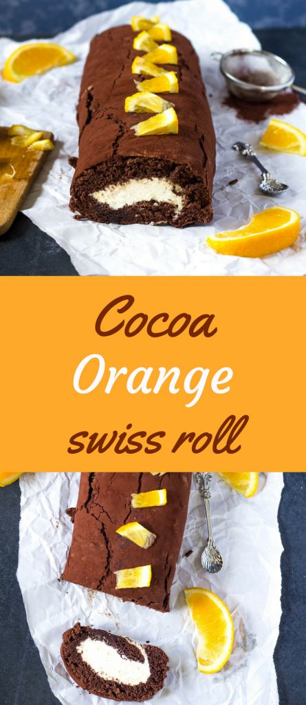 Delicious soft cocoa swiss roll with orange cream cheese filling