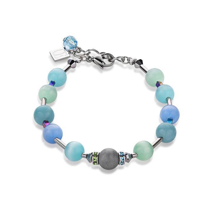 Coeur De Lion Swarovski Crystal Blue - Green Agate Bracelet