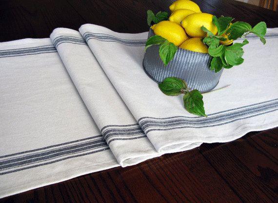 Farmhouse Table Runner - Grain sack Table Runner - Country Table Decor - Black Stripe Runner by FarmhouseHomeDecor on Etsy