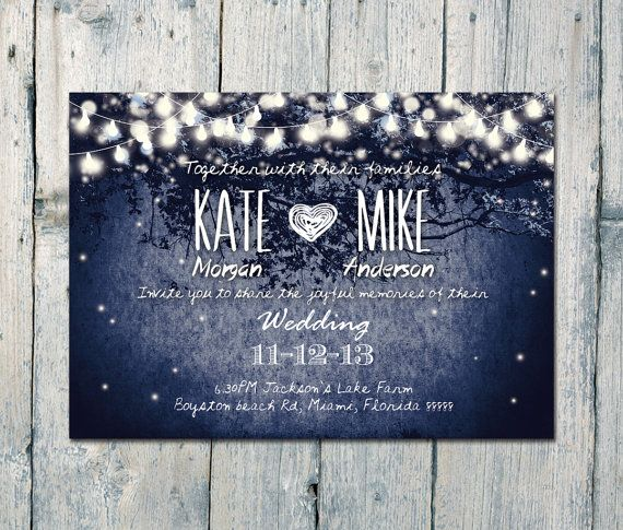 Custom listing for Kristen - Digital Printable Files - Navy - Romantic Garden and Night Light Wedding Invitation and Reply Card Set - ID210N