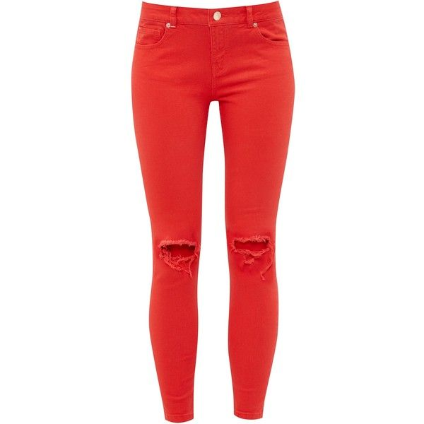 Ted Baker Swansa Ripped Skinny Jeans (£89) ❤ liked on Polyvore featuring jeans, women jeans, red ripped jeans, destroyed jeans, red skinny jeans, destructed skinny jeans and super skinny ripped jeans