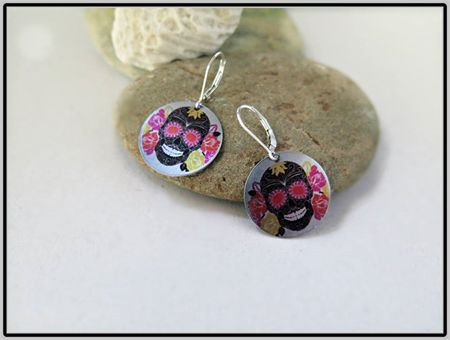 ROSES, DAY OF THE DEAD SUBLIMATION EARRINGS