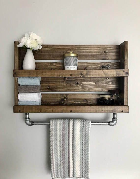 Pipe And Wood Towel Rack