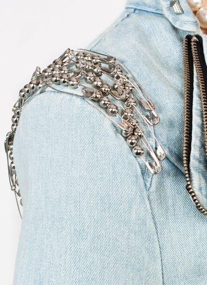 safety pin denim jacket