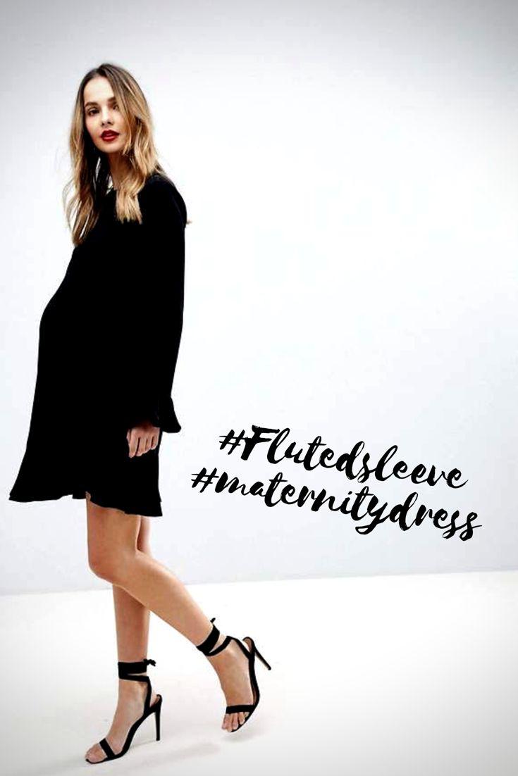 Fluted sleeve maternity mini dress! #asos #blackmaternitydress #flutedsleeve #pregnancydress #maternitystyle #babyshowerdress #affiliate