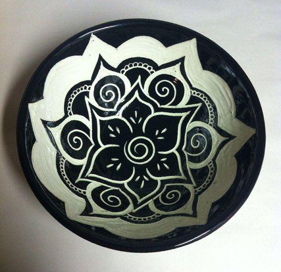 Black & White Mandala Serving Bowl