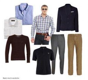 Navy blazer                                                             Light weight pullover sweater Dark trouser Tan pant White shirt Light blue shirt Dark polo (skip) Second long or short sleeved shirt: Tan Pant