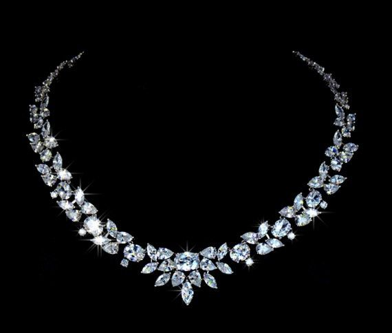 Haut de Marquise luxe chaud pur coupe Choker zircon cubique collier Prom ~ cadeau bijoux nuptiales