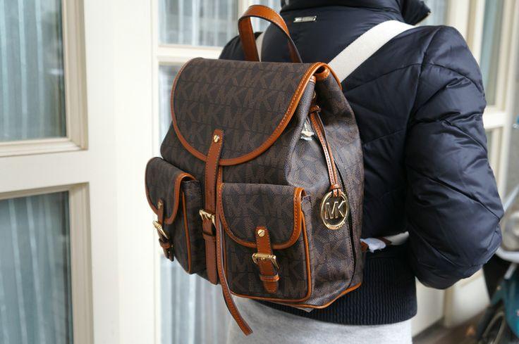 #Michael #Kors handbags Michael Kors PVC Signature Jet Set Backpack Brown