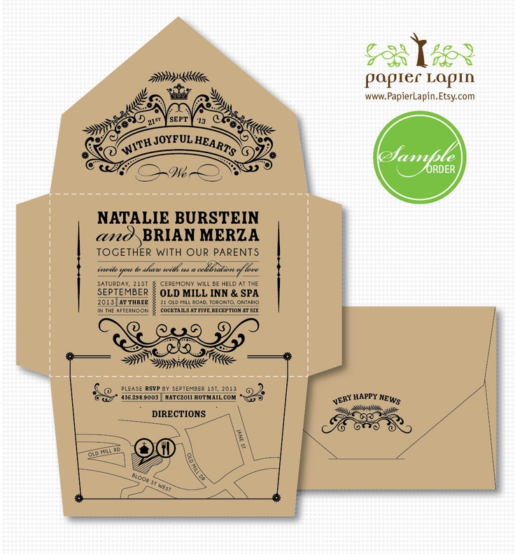 Open-Me- Softly eco-friendly invitation, self-mailer, kraft paper, quirky  whimscial // SAMPLE. $3.50, via Etsy.