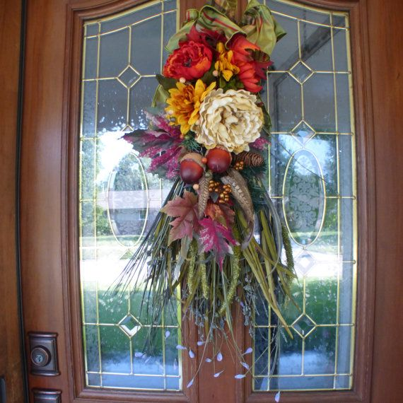 Thanksgiving Door Swags Fall door swags by JulieButlerCreations & 96 best Fall Wreaths Door Swags u0026 Decorations images on Pinterest ... pezcame.com