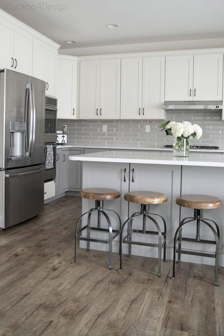 See More Ideas About Floors Kitchen In Our Site Kitchentileideas Gray And White Kitchen Kitchen Cabinets And Countertops Grey Kitchen Floor