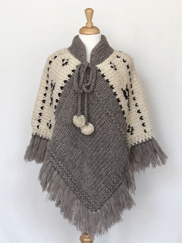 Poncho - Natural  (I'm thinking grannie squares along the shoulder instead of white knits - ?)