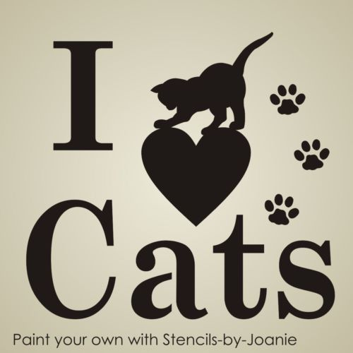 Pet-STENCIL-I-Love-Cats-Paw-Print-Playful-3-Kitty-Animal-Kennel-Signs-T-Shirts
