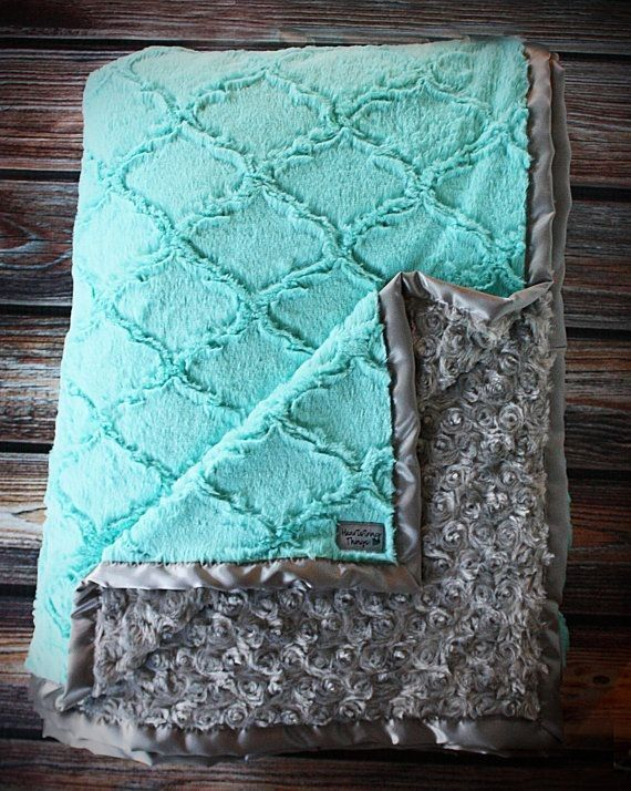Minky Blanket, baby girl, blanket for girl, blue and grey, grey and tiffany blue, soft blanket, Lattice Print, Ruffle Blanket, Lovie, Silk