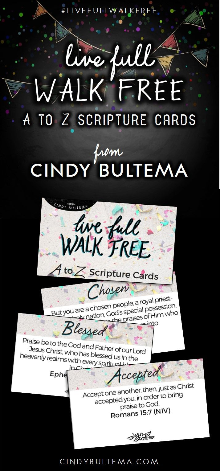 A to Z Scripture Cards by Cindy Bultema, inspired by the Live Full Walk Free Bible Study of 1 Corinthians. #LiveFullWalkFree