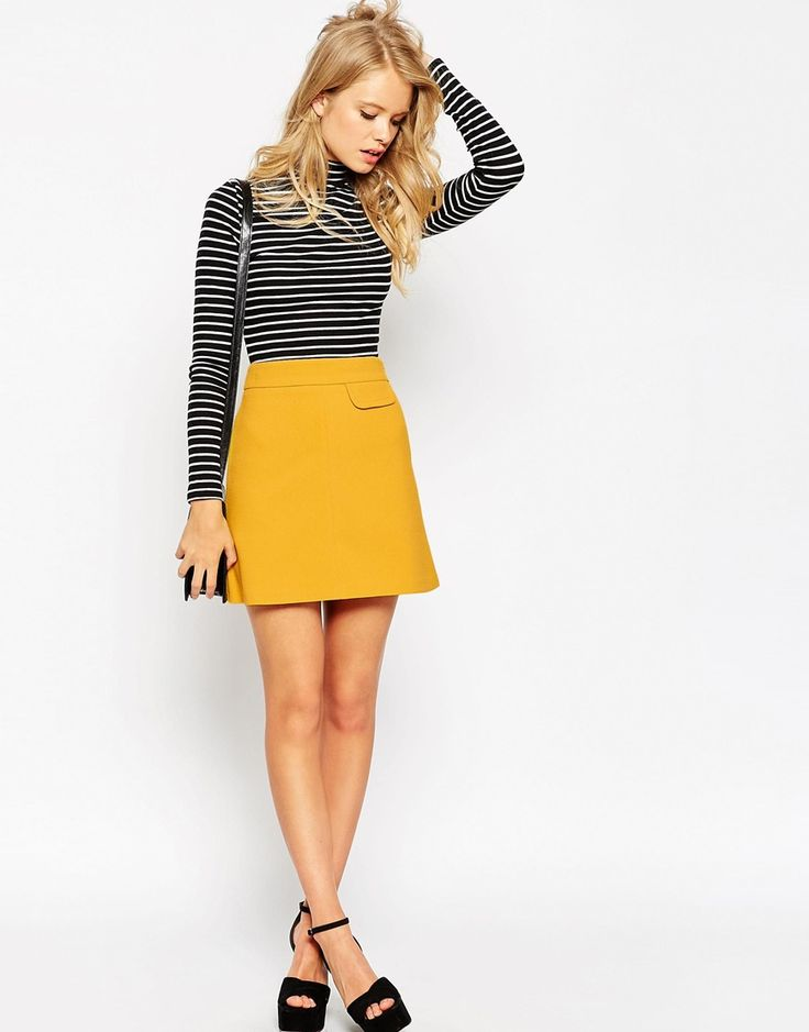 Image 1 of ASOS A-Line Skirt with Pocket Detail