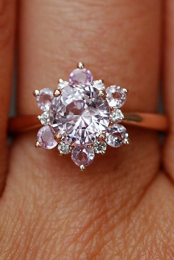 3 Best Sapphires Designers That Will Inspire You ❤️ Best sapphires designers round cut halo snowflake rose gold unique ❤️ More on the blog: https://ohsoperfectproposal.com/best-sapphires-designers/ #weddingring