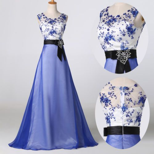 1950s-Vintage-Long-Evening-Formal-Party-Ball-Gown-Prom-Bridesmaid-Dresses-Blue