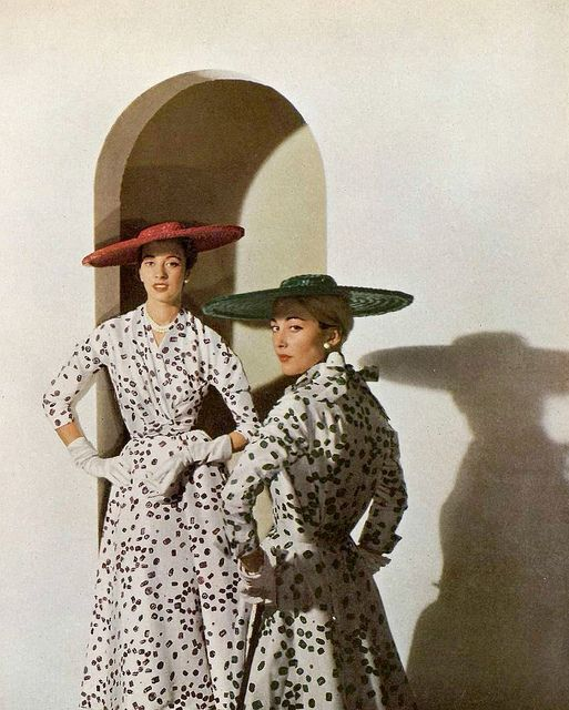 Marie-Thérèse and Geneviève in print silk dresses by Pierre Balmain, photo by Georges Saad, 1953
