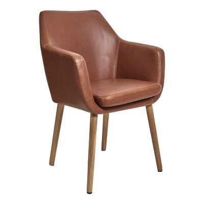 Latitude By Oneworld Oak & PU Leather Tan Chloe Carver Chair & Reviews   Temple & Webster
