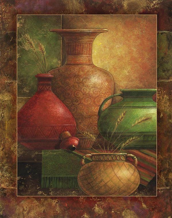 Earthen Vessels I Art Print by Janet Stever.  All prints are professionally printed, packaged, and shipped within 3 - 4 business days. Choose from multiple sizes and hundreds of frame and mat options.