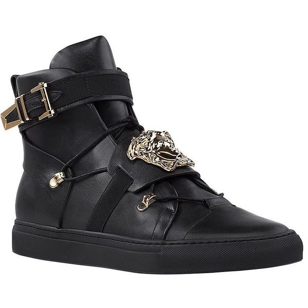 Elasticated High-Top Sneakers (4.185 BRL) ❤ liked on Polyvore featuring shoes, sneakers, high top sneakers, high top lace up shoes, lacing sneakers, cushioned shoes and elastic shoes