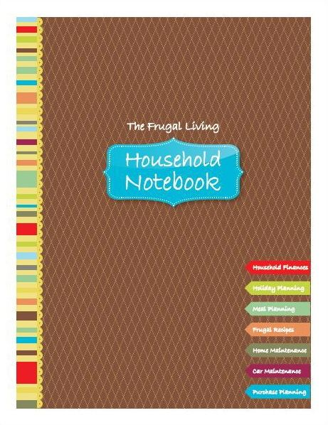 Frugal Living Household Notebook with free printables for menu planning and budgeting