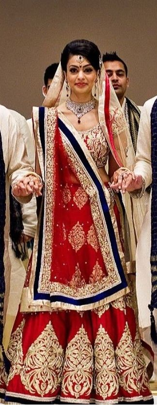 red and navy bridal lehenga