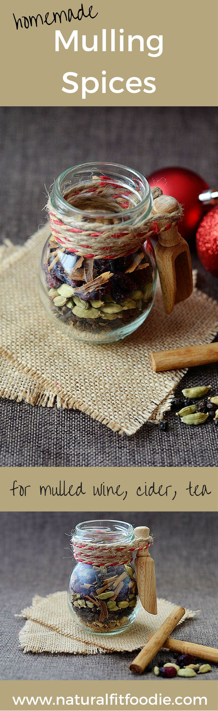 Homemade Mulling Spices - Mix your own mulling spices and perk up all your holiday beverages; mulled wine, mulled cider, tea and more. Makes the most beautiful holiday foodie gift too!