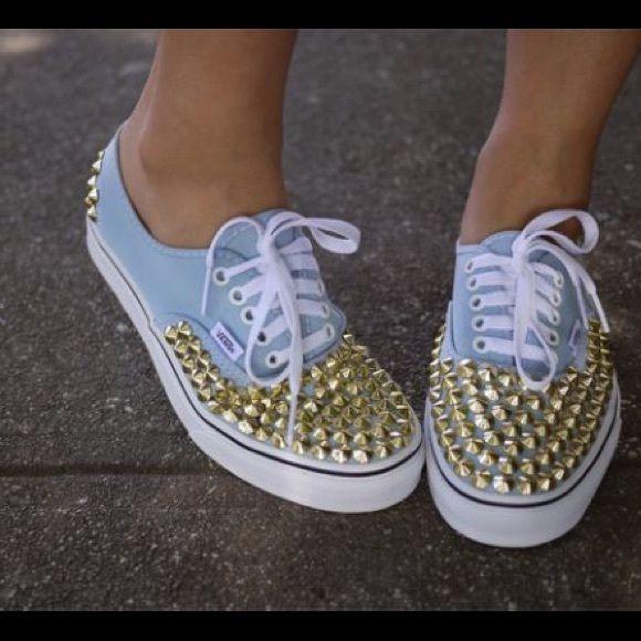studded vans blue studded vans custom made! worn lightly! Vans Shoes