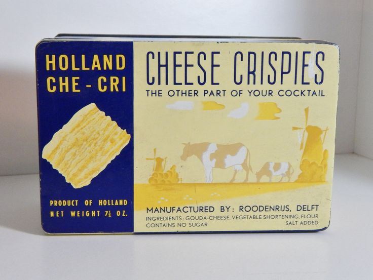 Vintage Tin Holland Che-Chi Cheese Crispies Tin Box Gouda Delft Blue Yellow Cows Windmills Kitchen Decor Mid Century Cocktail Crackers by OffbeatAvenue on Etsy