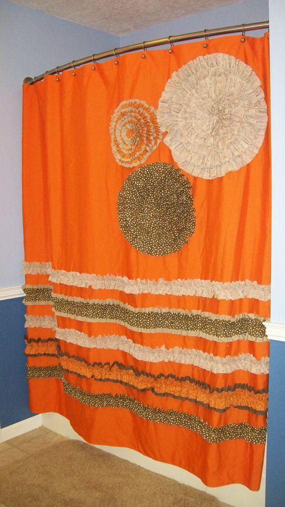 Shower Curtain Custom Made Designer Fabric Ruffles And Flowers Neutral Orange Tan Brown