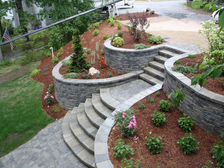 fabulous retaining wall idea and steps landscaping design in a hilly space - Landscape Design Retaining Wall Ideas