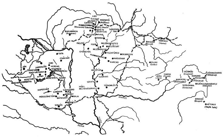 Fazekasközpontok térképe