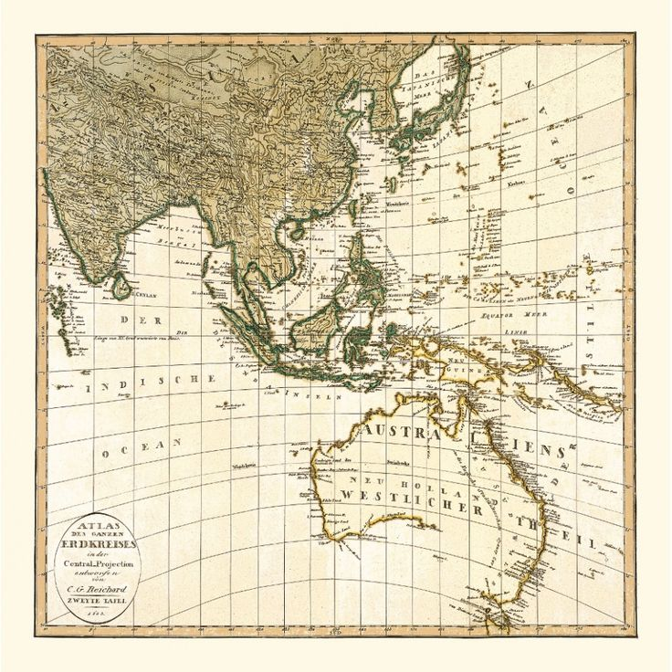 Vintage map of Southeast Asia and Australia. Part of a set of six square maps of the world. Wall art for home decor. Handmade paper print. #map, #antiquemap, #vintagemap, #oldmap #historicalmap, #mapreproduction #mapreproductions #oldmaps, #vintagemaps, #antiquemaps, #historicalmaps #handmadepaper #maps, #southeastasia, #australia #asia, #mapdecor, #traveldecor #walldecor, #mapgifts
