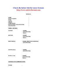 image result for marriage biodata format download word format - Biodata Format Pdf Free Download