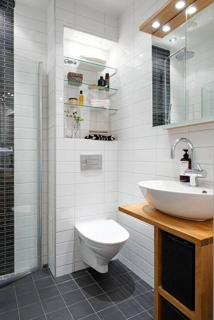 Bathroom , Soothing Scandinavian Bathroom Designs : Modern Scandinavian Bathroom Designs With Wall Mounted Toilet And Vessil Sink. The glass shower door looks like it pivots out of the way until it is being used as a partition. Smart!