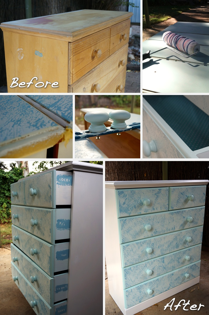 $23 makeover of a chest of drawers!...only took 1 week! Found on the side of the road, sanded back, paint; top and sides white,front of drawers pale teal, wool wrapped roller to give blue lines effect, drawer edges and handles teal. Contact for drawer liners and scrap book sticker letters for labelling.