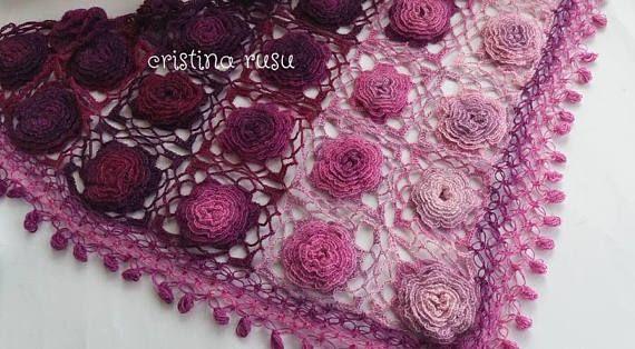 Crochet 3D Fuchsia Flower shawl  Triangle Shawl Lace Shawl /