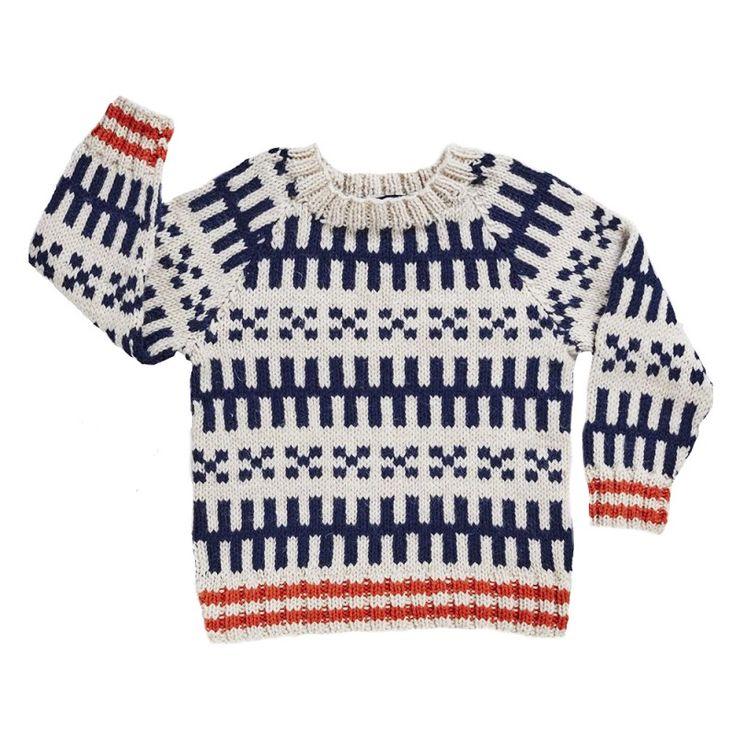 Mads Nørgaard drengetrøje, hvid m blåt mønster