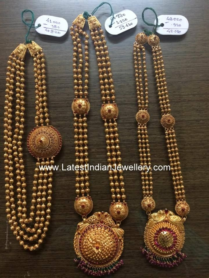 Gundla mala with weight. 4 line gold balls chandra haram design with large round gold mogapu, 3 stringed gold beaded long haram with temple style peacock pendant parsmani
