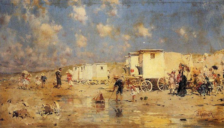 """The Beach At Scheveningen, Holland Oil on canvas 40 x 23 cm (15?"""" x 9.06"""") byFrederick Hendrik Kaemmerer(1839-1902"""
